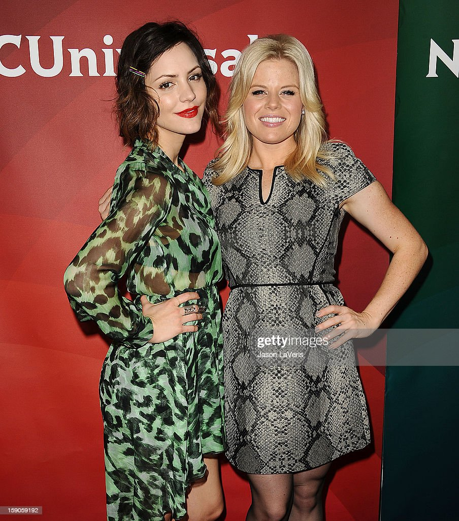 Actresses Katharine McPhee and Megan Hilty attend the 2013 NBC TCA Winter Press Tour at The Langham Huntington Hotel and Spa on January 6, 2013 in Pasadena, California.