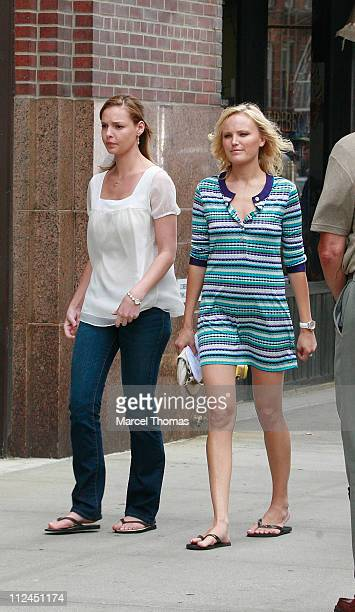 Actresses Katherine Heigl and Malin Akerman sighting as they film a scene for their new movie '27 Dresses' on location in Tribeca New York
