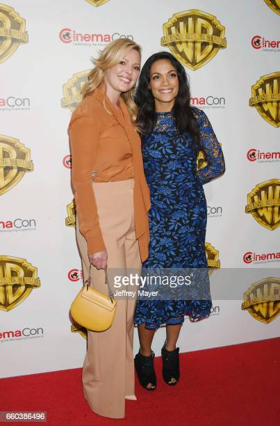 Actresses Katherine Heigl and Rosario Dawson arrive at the CinemaCon 2017 Warner Bros Pictures presentation of their upcoming slate of films at The...