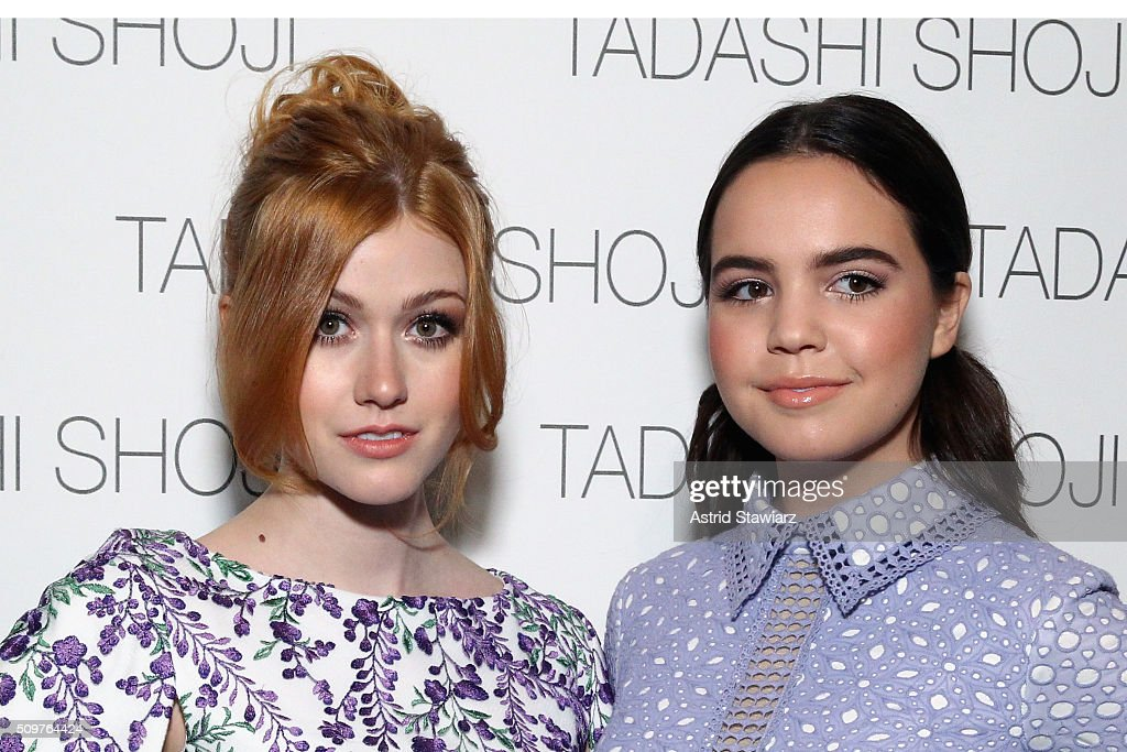 Actresses <a gi-track='captionPersonalityLinkClicked' href=/galleries/search?phrase=Katherine+McNamara&family=editorial&specificpeople=6829207 ng-click='$event.stopPropagation()'>Katherine McNamara</a> (L) and <a gi-track='captionPersonalityLinkClicked' href=/galleries/search?phrase=Bailee+Madison&family=editorial&specificpeople=4136620 ng-click='$event.stopPropagation()'>Bailee Madison</a> pose backstage at the Tadashi Shoji Fall 2016 fashion show during New York Fashion Week: The Shows at The Arc, Skylight at Moynihan Station on February 12, 2016 in New York City.