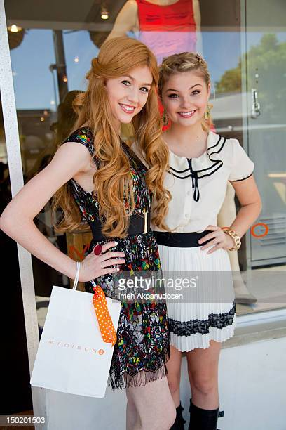 Actresses Katherine McNamara and Stefanie Scott attend the Teen Vogue BackToSchool Event Madison t Boutique Launch Party on August 11 2012 in Pacific...