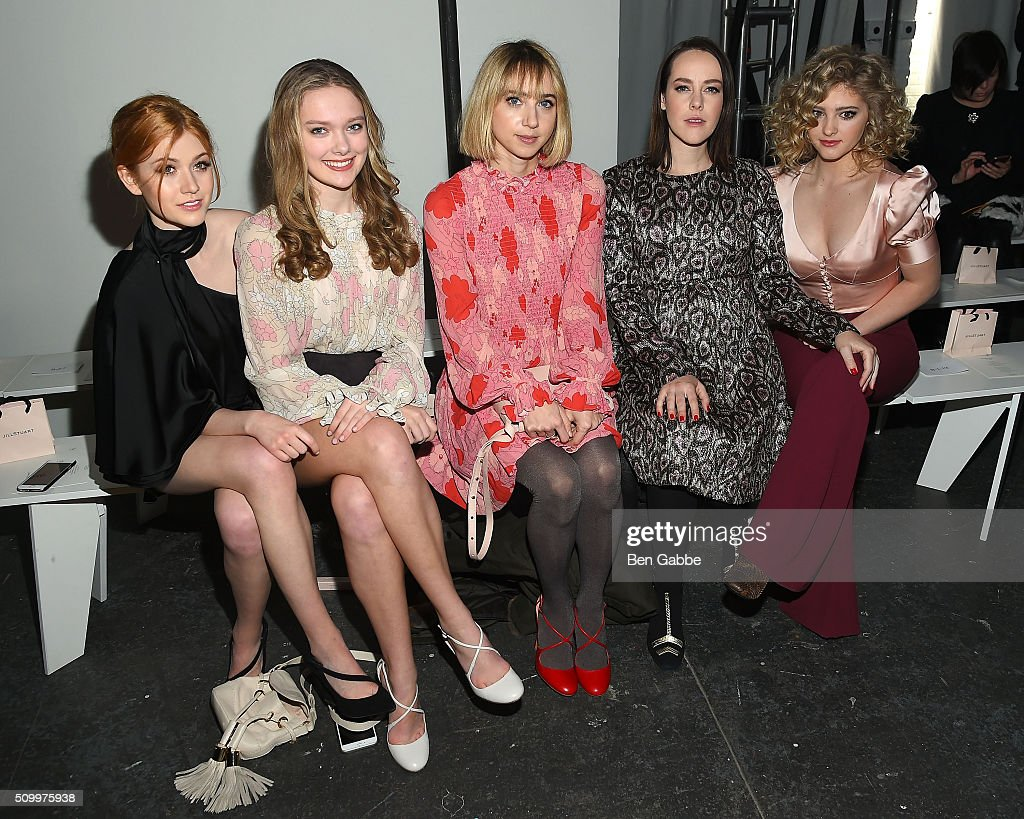 Actresses <a gi-track='captionPersonalityLinkClicked' href=/galleries/search?phrase=Katherine+McNamara&family=editorial&specificpeople=6829207 ng-click='$event.stopPropagation()'>Katherine McNamara</a>, Bridget McGarry, <a gi-track='captionPersonalityLinkClicked' href=/galleries/search?phrase=Zoe+Kazan&family=editorial&specificpeople=3953779 ng-click='$event.stopPropagation()'>Zoe Kazan</a>, <a gi-track='captionPersonalityLinkClicked' href=/galleries/search?phrase=Jena+Malone&family=editorial&specificpeople=216548 ng-click='$event.stopPropagation()'>Jena Malone</a> and <a gi-track='captionPersonalityLinkClicked' href=/galleries/search?phrase=Willow+Shields&family=editorial&specificpeople=8563210 ng-click='$event.stopPropagation()'>Willow Shields</a> attend the Jill Stuart fashion show during Fall 2016 New York Fashion Week at Industria Superstudio on February 13, 2016 in New York City.
