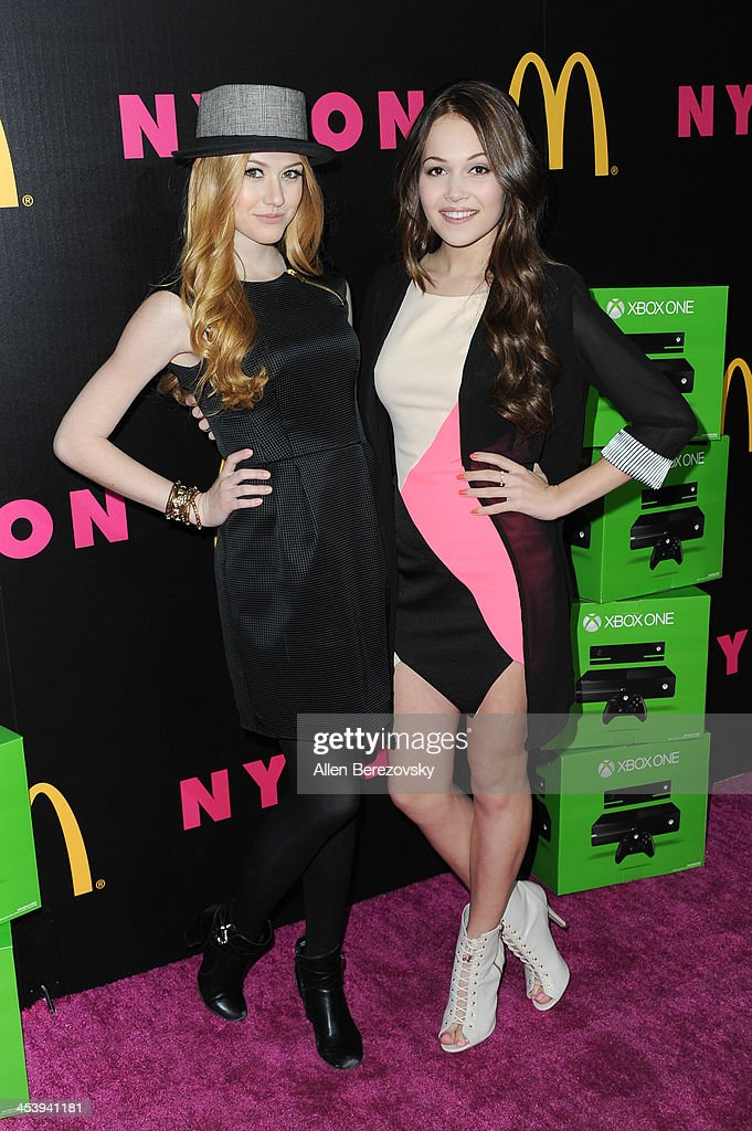 Actresses Katherine McNamera (L) and Kelli Burglund attend NYLON Magazine's December Issue Celebration featuring cover star Demi Lovato at Smashbox West Hollywood on December 5, 2013 in West Hollywood, California.
