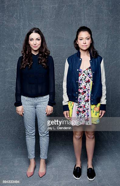 Actresses Kathryn Alexandre and Tatiana Maslany of 'Orphan Black' are photographed for Los Angeles Times at San Diego Comic Con on July 22 2016 in...