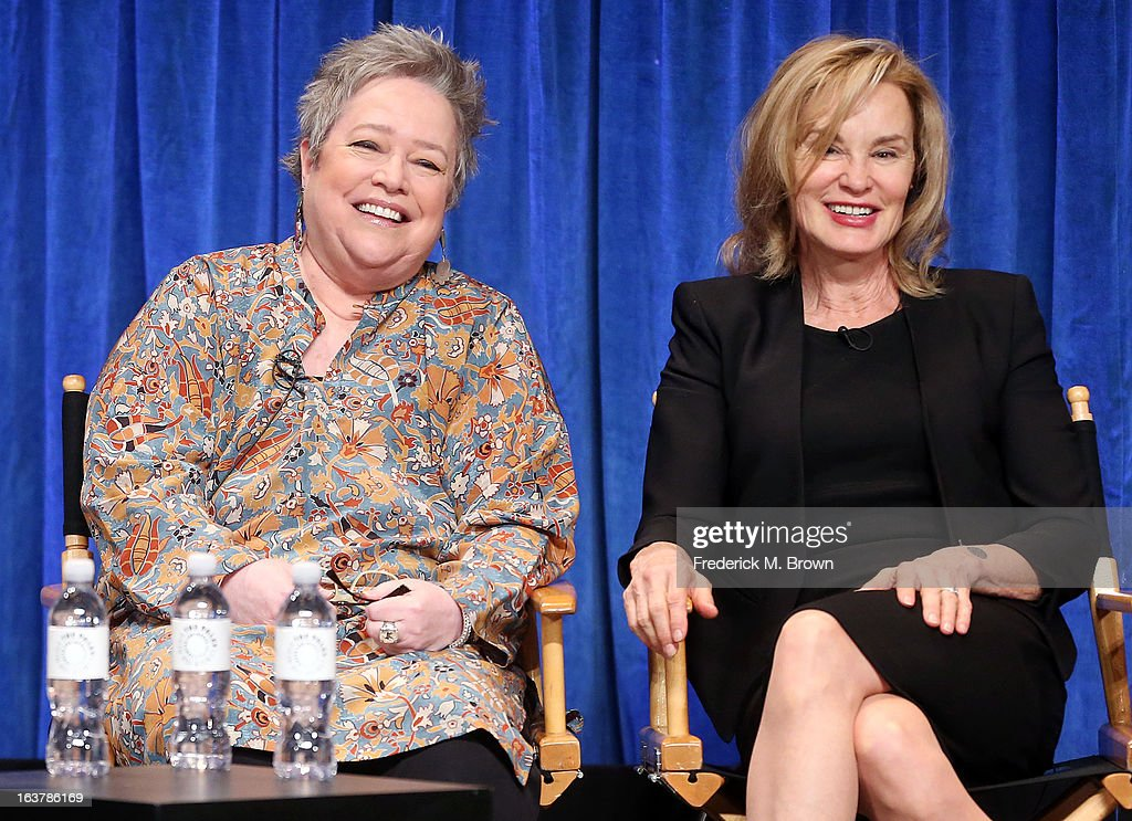 Actresses <a gi-track='captionPersonalityLinkClicked' href=/galleries/search?phrase=Kathy+Bates+-+Sk%C3%A5despelerska&family=editorial&specificpeople=171565 ng-click='$event.stopPropagation()'>Kathy Bates</a> (L) and <a gi-track='captionPersonalityLinkClicked' href=/galleries/search?phrase=Jessica+Lange&family=editorial&specificpeople=203310 ng-click='$event.stopPropagation()'>Jessica Lange</a> speak during The Paley Center For Media's PaleyFest 2013 Honoring 'American Horror Story: Asylum' at the Saban Theatre on March 15, 2013 in Beverly Hills, California.