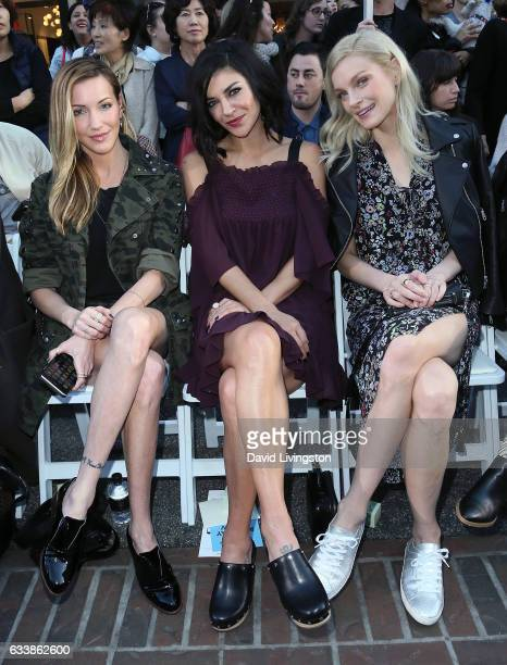 Actresses Katie Cassidy and Jessica Szohr and model Jessica Stam attend Rebecca Minkkoff's 'See Now Buy Now' fashion show at The Grove on February 4...
