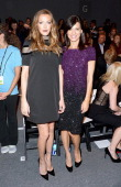 Actresses Katie Cassidy and Perrey Reeves attend the Pamella Roland fashion show during MercedesBenz Fashion Week Spring 2014 at The Studio at...