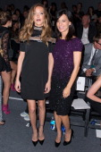 Actresses Katie Cassidy and Perrey Reeves attend the Pamella Roland show during Spring 2014 MercedesBenz Fashion Week at The Studio at Lincoln Center...