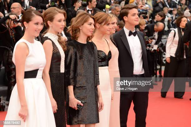 Actresses Katie Chang and Taissa Farmiga director Sofia Coppola actresses Emma Watson and Claire Julien and actor Israel Broussard during The 66th...