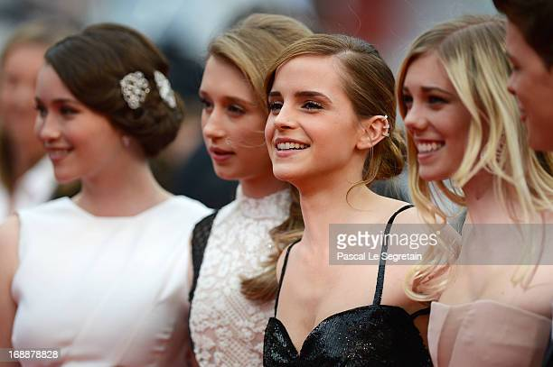 Actresses Katie Chang Taissa Farga Emma Watson and Claire Julien attend 'The Bling Ring' premiere during The 66th Annual Cannes Film Festival at the...