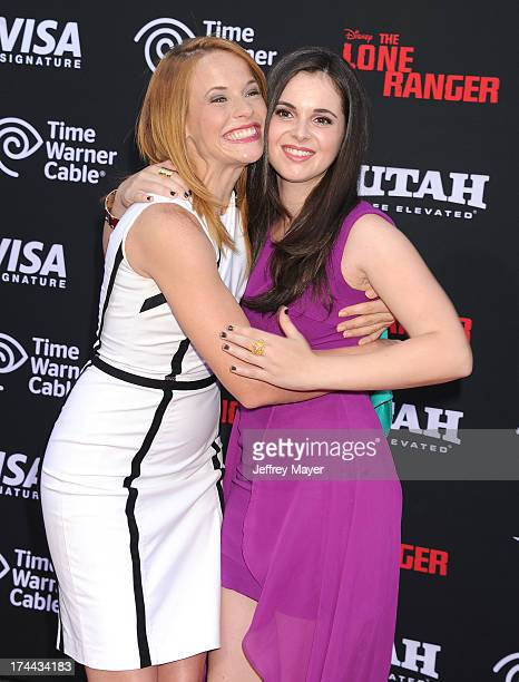 Actresses Katie Leclerc and Vanessa Marano arrive at 'The Lone Ranger' World Premiere at Disney's California Adventure on June 22 2013 in Anaheim...