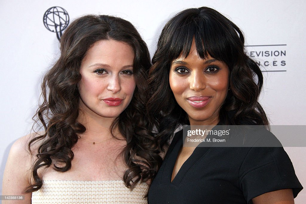 Actresses Katie Lowes (L) and <a gi-track='captionPersonalityLinkClicked' href=/galleries/search?phrase=Kerry+Washington&family=editorial&specificpeople=201534 ng-click='$event.stopPropagation()'>Kerry Washington</a> attend The Academy of Television Arts & Sciences Presents 'Welcome To ShondaLand: An Evening With Shonda Rhimes & Friends' at the Leonard H. Goldenson Theatre on April 2, 2012 in North Hollywood, California.