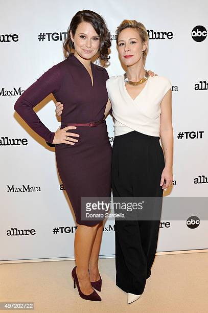 Actresses Katie Lowes and Liza Weil both wearing MaxMara attend 'MaxMara Allure Celebrate ABC's #TGIT' at MaxMara on November 14 2015 in Beverly...
