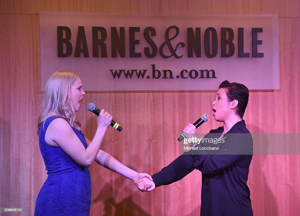 Actresses Katie Rose Clarke (L) and Lea Salonga promote the original Broadway cast recording of 'Allegiance' at Barnes & Noble, 86th & Lexington on February 5, 2016 in New York City.
