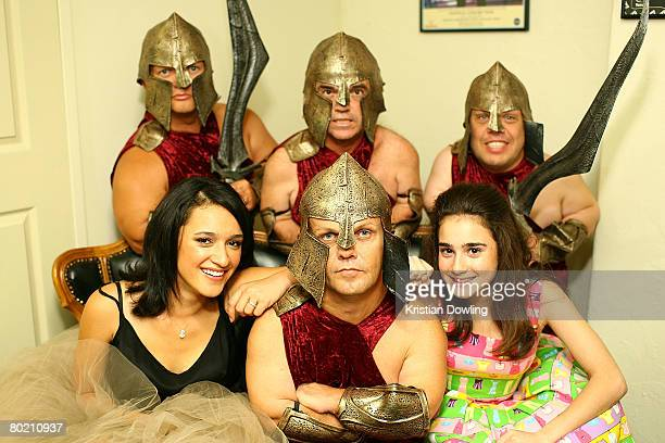 Actresses Keisha CastleHughes and Danielle Catanzariti pose with actors from the show backstage in the Green Room at the 2008 Movie Extra FilmInk...