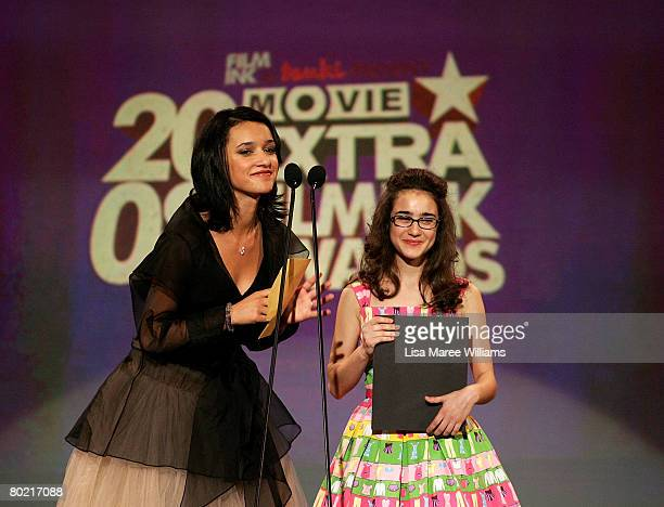Actresses Keisha CastleHughes and Danielle Catanzariti present the award for 'Best Australian Newcomer' on stage at the 2008 Movie Extra FilmInk...