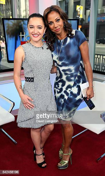 Actresses Keisha CastleHughes and Holly Robinson Peete attend Hollywood Today Live at W Hollywood on June 23 2016 in Hollywood California