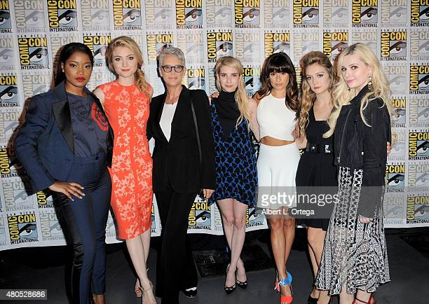 Actresses Keke Palmer Skyler Samuels Jamie Lee Curtis Emma Roberts Lea Michele Billie Lourd and Abigail Breslin pose at the 'American Horror Story'...