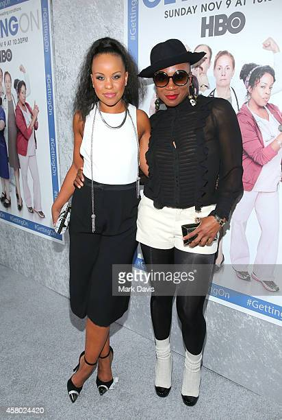 Actresses Kellee Stewart and Aisha Hinds attend the HBO 'Getting On' Season 2 Los Angeles Premiere at Avalon on October 28 2014 in Hollywood...