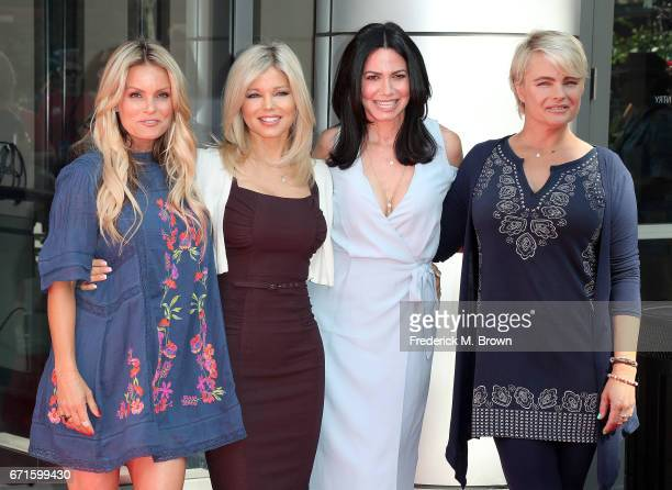 Actresses Kelly Packard Donna D'Errico Nancy Valen and Erika Eleniak attend The 'Baywatch' SlowMo Marathon at the Microsoft Square on April 22 2017...