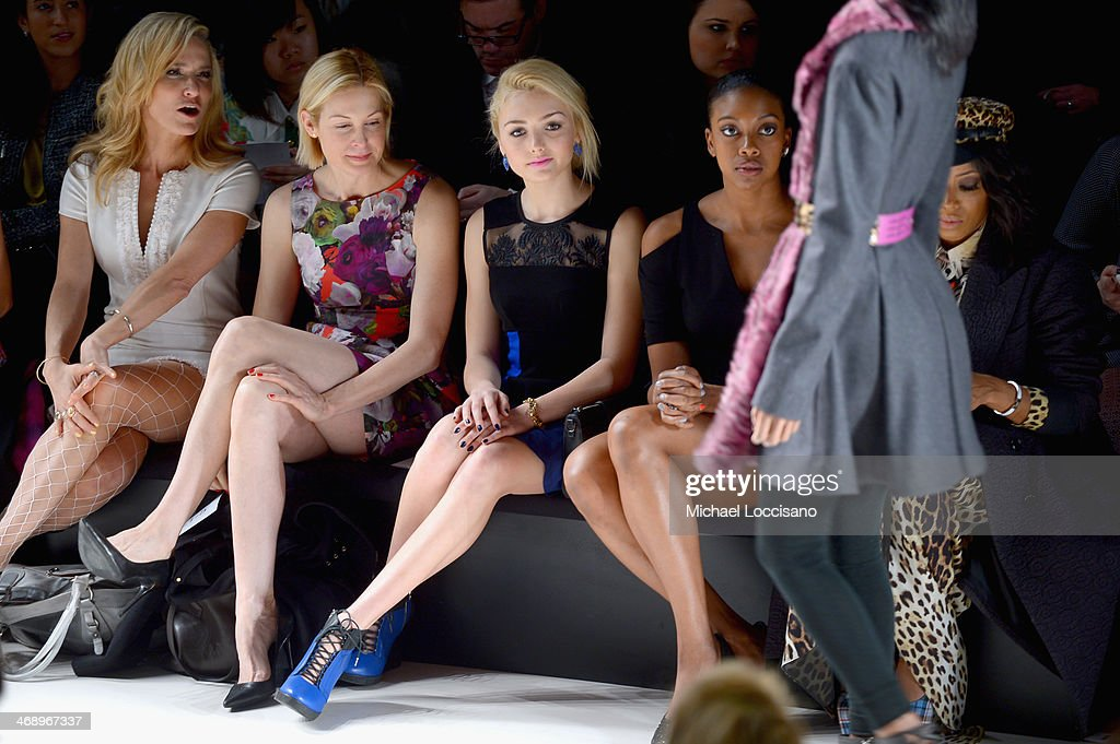 Actresses <a gi-track='captionPersonalityLinkClicked' href=/galleries/search?phrase=Kelly+Rutherford&family=editorial&specificpeople=217987 ng-click='$event.stopPropagation()'>Kelly Rutherford</a>, Peyton List, and stylist <a gi-track='captionPersonalityLinkClicked' href=/galleries/search?phrase=June+Ambrose&family=editorial&specificpeople=619410 ng-click='$event.stopPropagation()'>June Ambrose</a> attend the Nanette Lepore fashion show during Mercedes-Benz Fashion Week Fall 2014 at The Salon at Lincoln Center on February 12, 2014 in New York City.