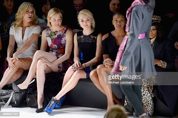 Actresses Kelly Rutherford Peyton List and stylist June Ambrose attend the Nanette Lepore fashion show during MercedesBenz Fashion Week Fall 2014 at...