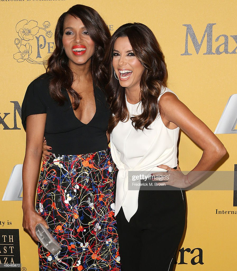 Actresses <a gi-track='captionPersonalityLinkClicked' href=/galleries/search?phrase=Kerry+Washington&family=editorial&specificpeople=201534 ng-click='$event.stopPropagation()'>Kerry Washington</a> (L) and <a gi-track='captionPersonalityLinkClicked' href=/galleries/search?phrase=Eva+Longoria&family=editorial&specificpeople=202082 ng-click='$event.stopPropagation()'>Eva Longoria</a> attend the Women In Film, Los Angeles Presents the 2014 Crystal + Lucy Awards at the Hyatt Regency Century Plaza Hotel on June 11, 2014 in Century City, California.