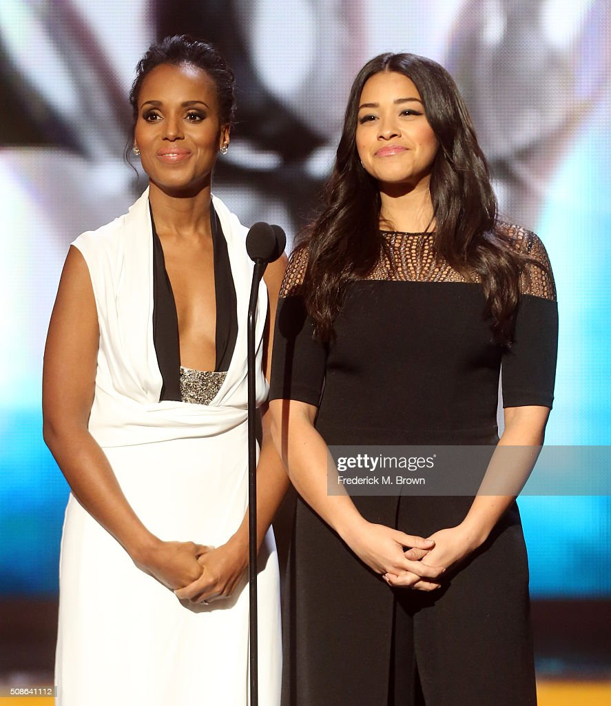Actresses <a gi-track='captionPersonalityLinkClicked' href=/galleries/search?phrase=Kerry+Washington&family=editorial&specificpeople=201534 ng-click='$event.stopPropagation()'>Kerry Washington</a> (L) and Gina Rodriguez speak onstage during the 47th NAACP Image Awards presented by TV One at Pasadena Civic Auditorium on February 5, 2016 in Pasadena, California.