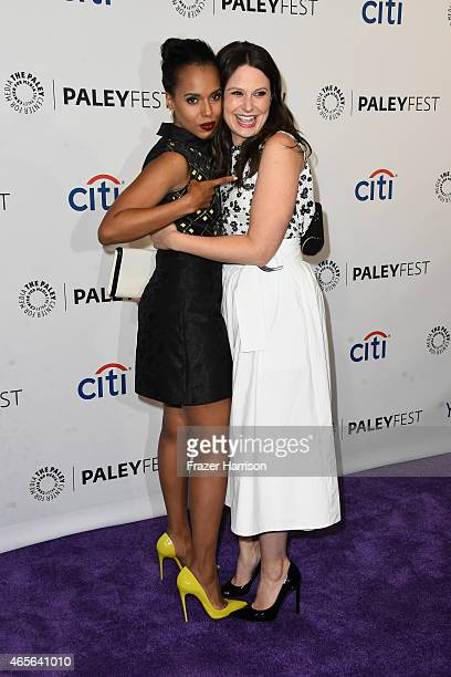 Actresses Kerry Washington and Katie Lowes attend The Paley Center For Media's 32nd Annual PALEYFEST LA 'Scandal' at Dolby Theatre on March 8 2015 in...