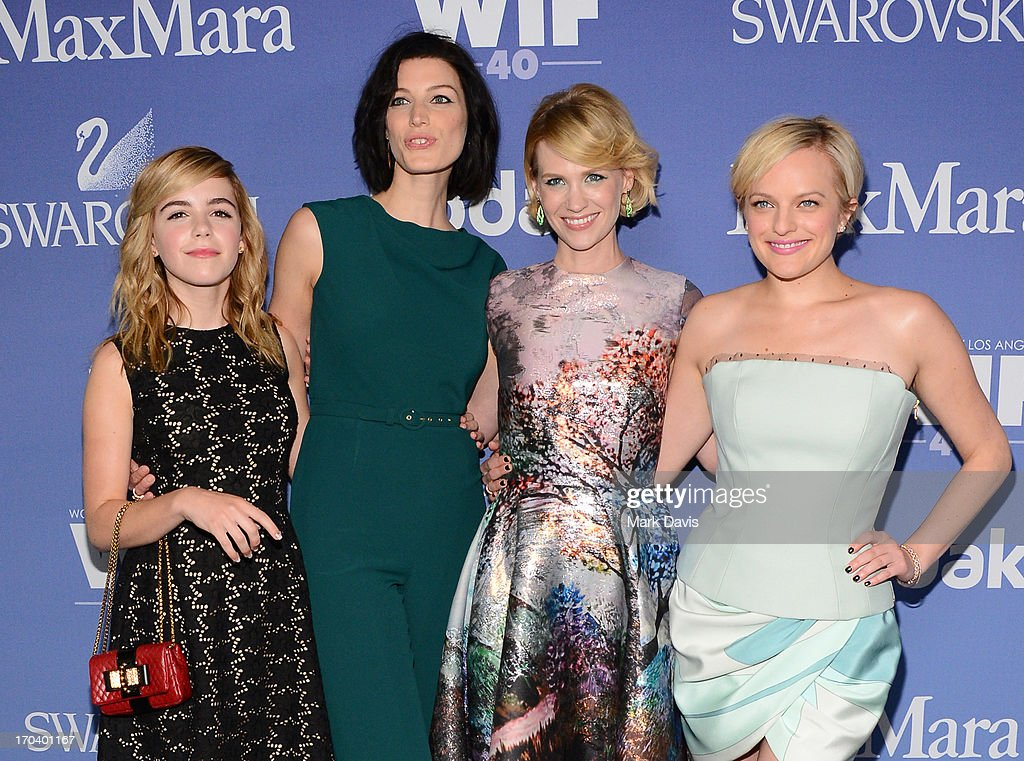 Actresses <a gi-track='captionPersonalityLinkClicked' href=/galleries/search?phrase=Kiernan+Shipka&family=editorial&specificpeople=5535048 ng-click='$event.stopPropagation()'>Kiernan Shipka</a>, <a gi-track='captionPersonalityLinkClicked' href=/galleries/search?phrase=Jessica+Pare&family=editorial&specificpeople=793183 ng-click='$event.stopPropagation()'>Jessica Pare</a>, <a gi-track='captionPersonalityLinkClicked' href=/galleries/search?phrase=January+Jones&family=editorial&specificpeople=212949 ng-click='$event.stopPropagation()'>January Jones</a>, and Elizabeth Moss attend Women In Film's 2013 Crystal + Lucy Awards at The Beverly Hilton Hotel on June 12, 2013 in Beverly Hills, California.
