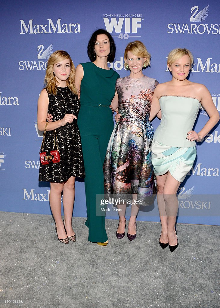 Actresses <a gi-track='captionPersonalityLinkClicked' href=/galleries/search?phrase=Kiernan+Shipka&family=editorial&specificpeople=5535048 ng-click='$event.stopPropagation()'>Kiernan Shipka</a>, Jessica Pare, <a gi-track='captionPersonalityLinkClicked' href=/galleries/search?phrase=January+Jones&family=editorial&specificpeople=212949 ng-click='$event.stopPropagation()'>January Jones</a>, and Elizabeth Moss attend Women In Film's 2013 Crystal + Lucy Awards at The Beverly Hilton Hotel on June 12, 2013 in Beverly Hills, California.