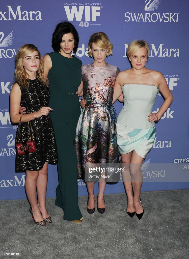 Actresses Kiernan Shipka, Jessica Pare, January Jones and Elizabeth Moss attend Women In Film's 2013 Crystal + Lucy Awards at The Beverly Hilton Hotel on June 12, 2013 in Beverly Hills, California.