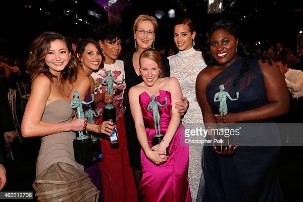 Actresses Kimiko Glenn Elizabeth Rodriguez Selenis Leyva Meryl Streep Emma Myles Dascha Polanco and Danielle Brooks attend TNT's 21st Annual Screen...
