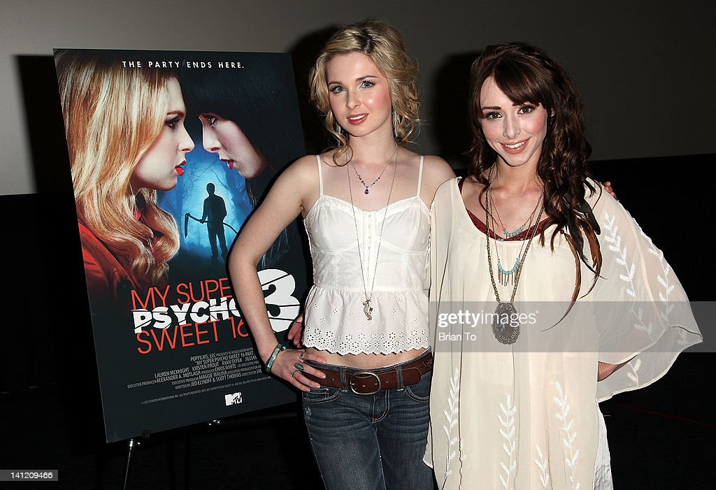 Actresses <a gi-track='captionPersonalityLinkClicked' href=/galleries/search?phrase=Kirsten+Prout&family=editorial&specificpeople=218126 ng-click='$event.stopPropagation()'>Kirsten Prout</a> (L) and <a gi-track='captionPersonalityLinkClicked' href=/galleries/search?phrase=Lauren+McKnight&family=editorial&specificpeople=5409280 ng-click='$event.stopPropagation()'>Lauren McKnight</a> attend MTV's 'My Super Psycho Sweet Sixteen 3' private pre-screening at ArcLight Cinemas Cinerama Dome on March 12, 2012 in Hollywood, California.