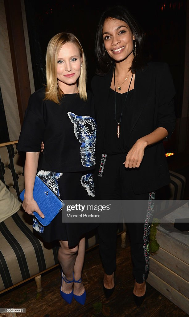 Actresses <a gi-track='captionPersonalityLinkClicked' href=/galleries/search?phrase=Kristen+Bell&family=editorial&specificpeople=194764 ng-click='$event.stopPropagation()'>Kristen Bell</a> (L) and <a gi-track='captionPersonalityLinkClicked' href=/galleries/search?phrase=Rosario+Dawson&family=editorial&specificpeople=201472 ng-click='$event.stopPropagation()'>Rosario Dawson</a> arrive at 'The Hobbit: The Desolation Of Smaug Expansion Pack' Kabam Mobile Game hits the red carpet at Eveleigh on December 11, 2013 in West Hollywood, California.
