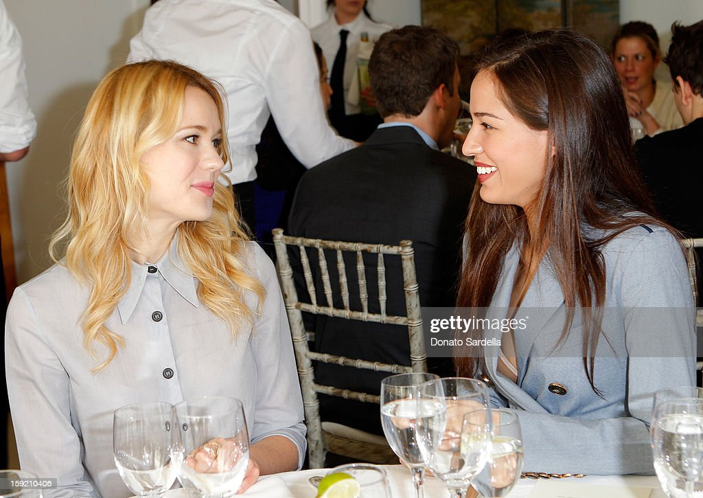 Actresses Kristen Hager (L) and <a gi-track='captionPersonalityLinkClicked' href=/galleries/search?phrase=Kelsey+Chow&family=editorial&specificpeople=4209642 ng-click='$event.stopPropagation()'>Kelsey Chow</a> attend a luncheon for Francesca Eastwood, Miss Golden Globe 2013, hosted by LoveGold and held at Chateau Marmont on January 9, 2013 in Los Angeles, California.