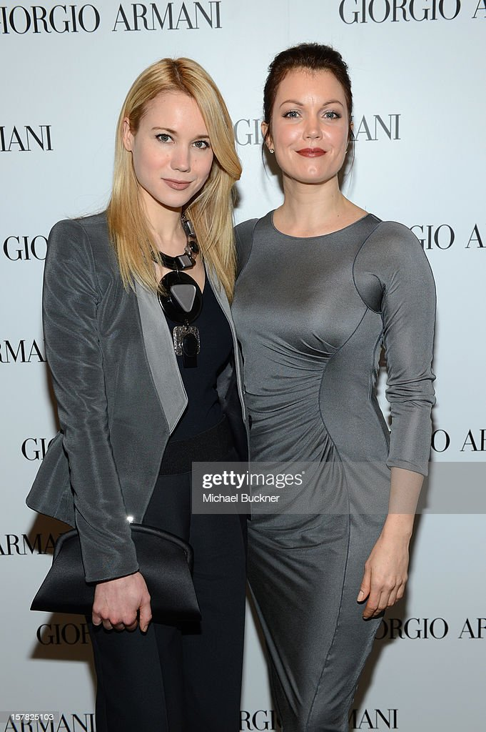 Actresses Kristen Hager, wearing Emporio Armani (L) and Bellamy Young, wearing Giorgio Armani attends the Giorgio Armani Beauty Luncheon on December 6, 2012 in Beverly Hills, California.