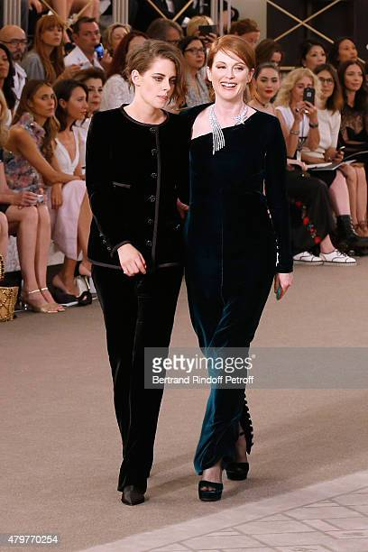 Actresses Kristen Stewart and Julianne Moore attend the Chanel show as part of Paris Fashion Week Haute Couture Fall/Winter 2015/2016 Held at Grand...