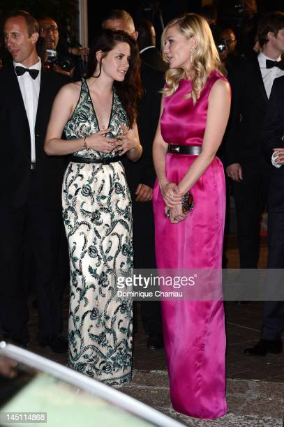 Actresses Kristen Stewart and Kirsten Dunst depart the 'On The Road' Premiere during the 65th Annual Cannes Film Festival at Palais des Festivals on...
