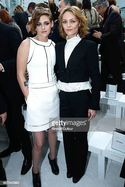 Actresses Kristen Stewart and Vanessa Paradis attend the Chanel show as part of Paris Fashion Week Haute Couture Spring/Summer 2015 on January 27...