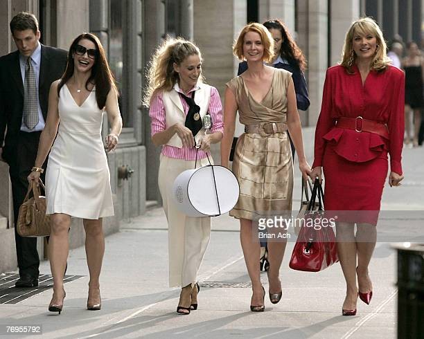 Actresses Kristin Davis as 'Charlotte' Sarah Jessica Parker as 'Carrie Bradshaw' Cynthia Nixon as 'Miranda' and Kim Cattrall as 'Samantha' on...