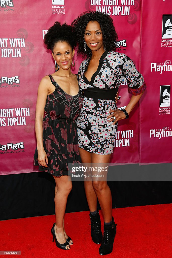 Actresses Kristy Johnson (L) and Vanessa Williams attend the opening night of 'One Night With Janis Joplin' at Pasadena Playhouse on March 17, 2013 in Pasadena, California.