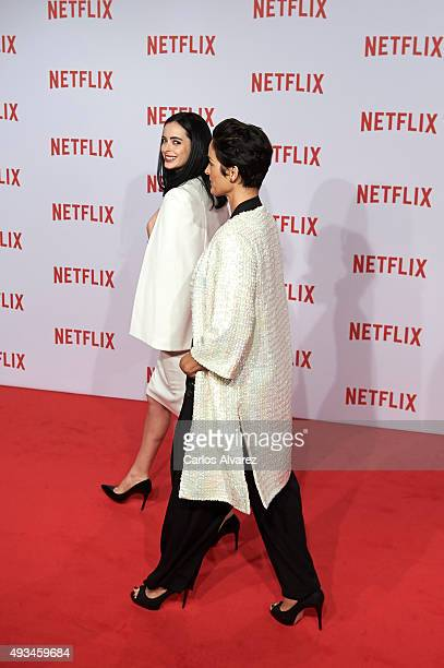 Actresses Krysten Ritter and CarrieAnne Moss attend the red carpet of Netflix presentation at the Matadero Cultural center on October 20 2015 in...