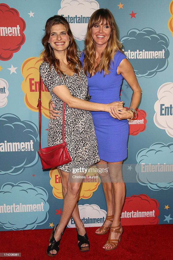 Actresses Lake Bell (L) and Erinn Hayes arrive at Entertainment Weekly's annual Comic-Con celebration at Float at Hard Rock Hotel San Diego on July 20, 2013 in San Diego, California.