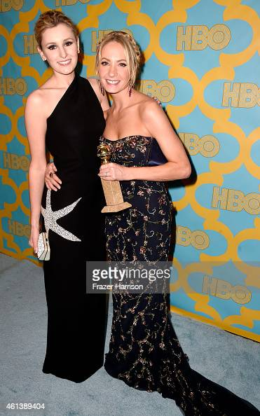 Actresses Laura Carmichael and Joanne Froggatt attend HBO's Post 2015 Golden Globe Awards Party at Circa 55 Restaurant on January 11 2015 in Los...