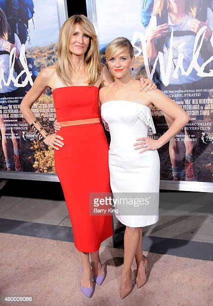 Actresses Laura Dern and Reese Witherspoon arrive at the Los Angeles Premiere 'Wild' at AMPAS Goldwyn Theater on November 19 2014 in Beverly Hills...
