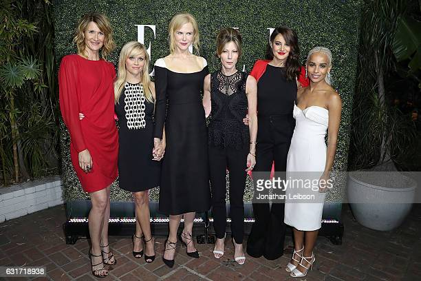 R Actresses Laura Dern Reese Witherspoon Nicole Kidman Robbie Myers Shailene Woodley and Zoe Kravitz attend the ELLE's Annual Women In Television...