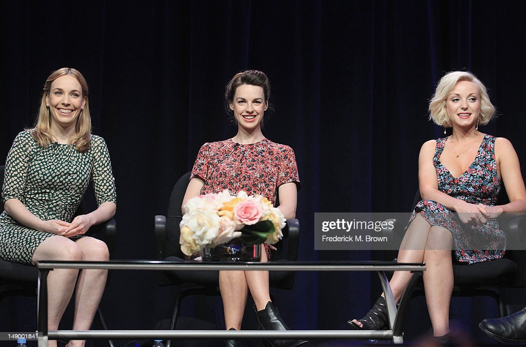 Actresses Laura Main, Jessica Raine and Helen George speak onstage at the 'Call the Midwife' panel during day 1 of the PBS portion of the 2012 Summer TCA Tour held at the Beverly Hilton Hotel on July 21, 2012 in Beverly Hills, California.