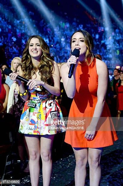 Actresses Laura Marano and Chloe Bennet speak during Nickelodeon's 2016 Kids' Choice Awards at The Forum on March 12 2016 in Inglewood California