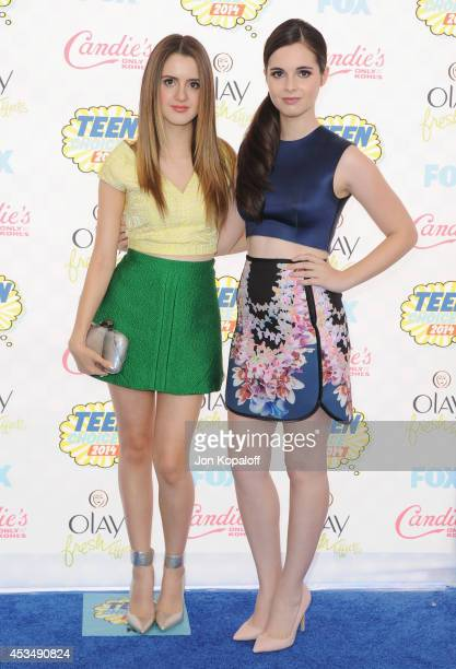 Actresses Laura Marano and Vanessa Marano arrive at the 2014 Teen Choice Awards at The Shrine Auditorium on August 10 2014 in Los Angeles California
